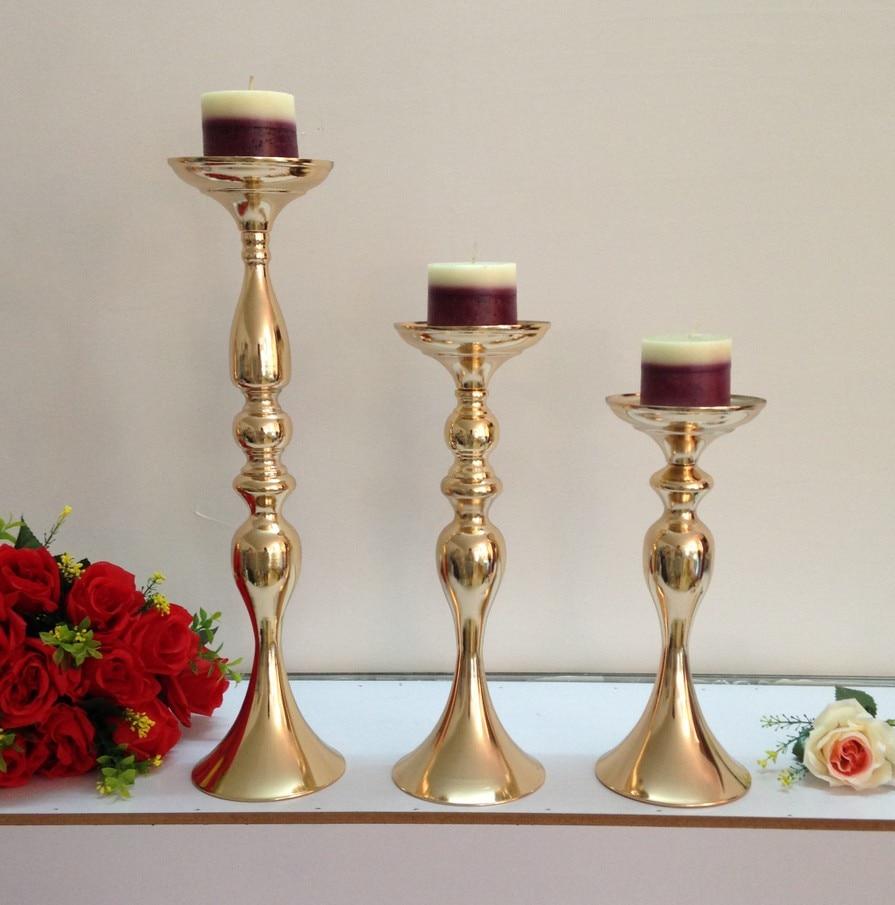 Gold Metall Kerzenhalter f r hochzeit dekoration Blumen Vase Leuchter Stra e F hren Leuchter CentrePieces