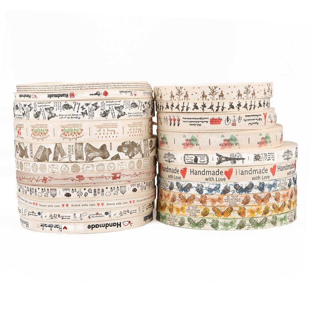 5Yard Multi Design Handmade Printed Cotton Lace Ribbon Wedding Party Decoration Cotton Ribbon Gift Wrap DIY