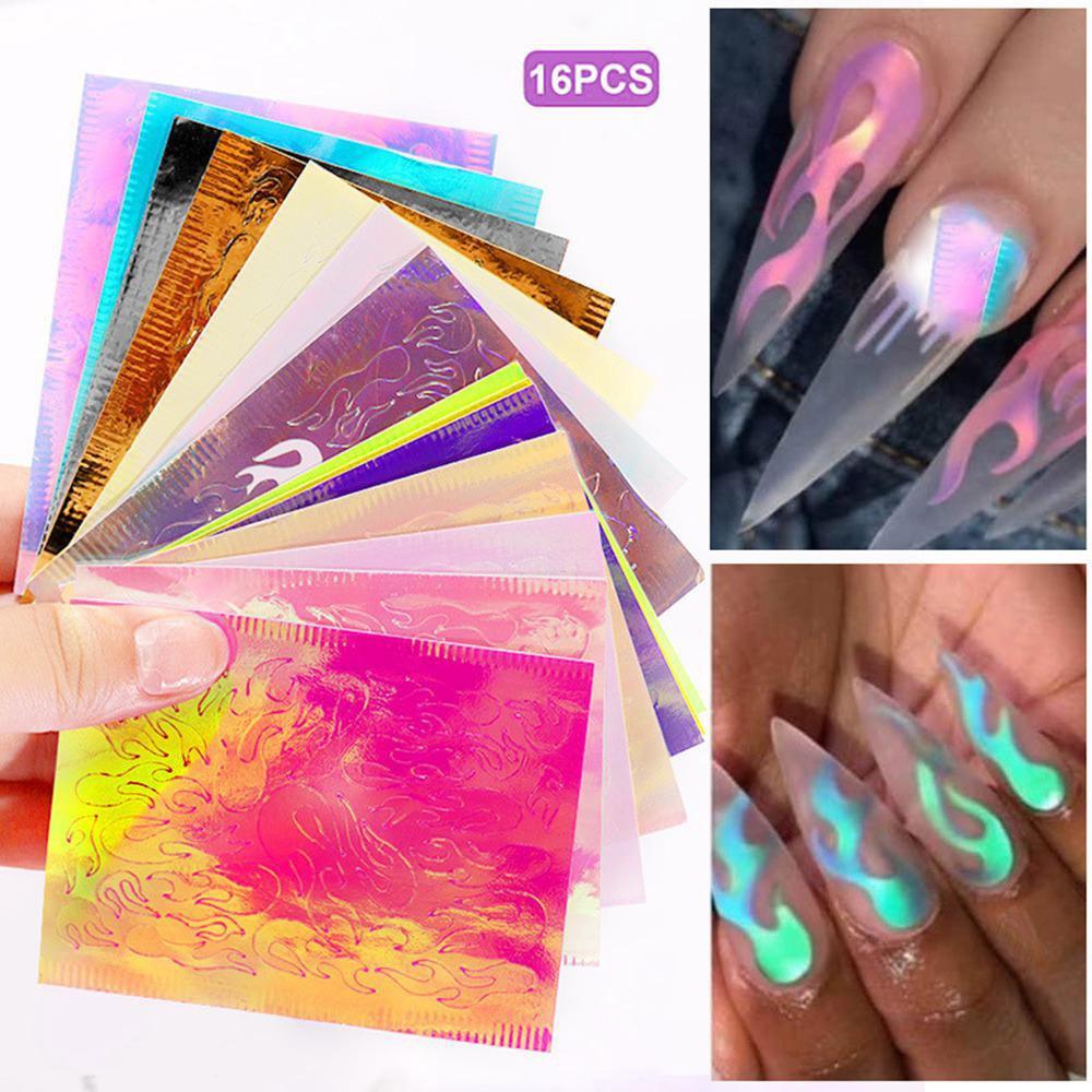 16 sztuk DIY Laser Illusion p omie naklejka do paznokci kolorowe odbicia ognia projekt samoprzylepne naklejane