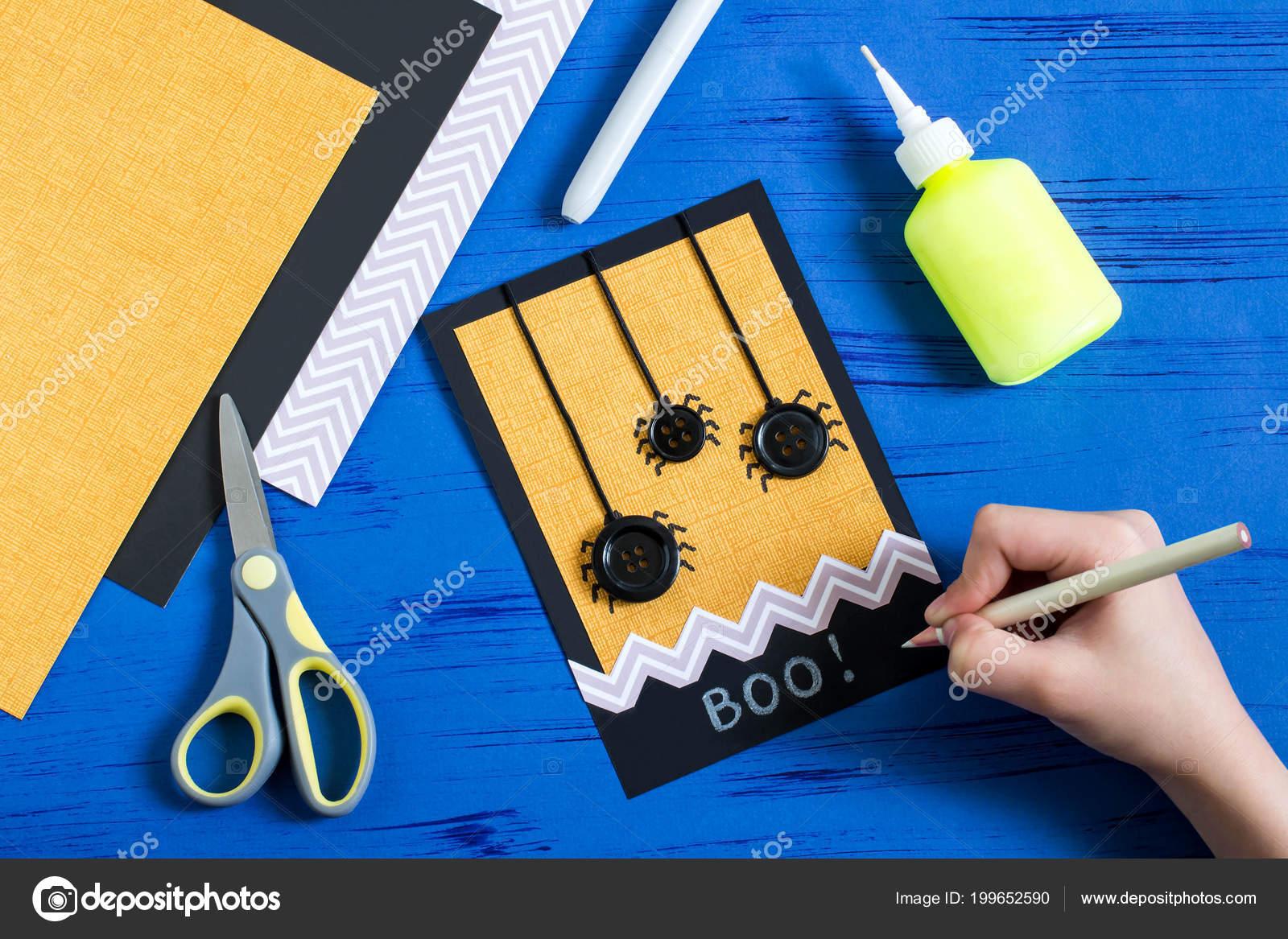 depositphotos stock photo child makes card spiders halloween