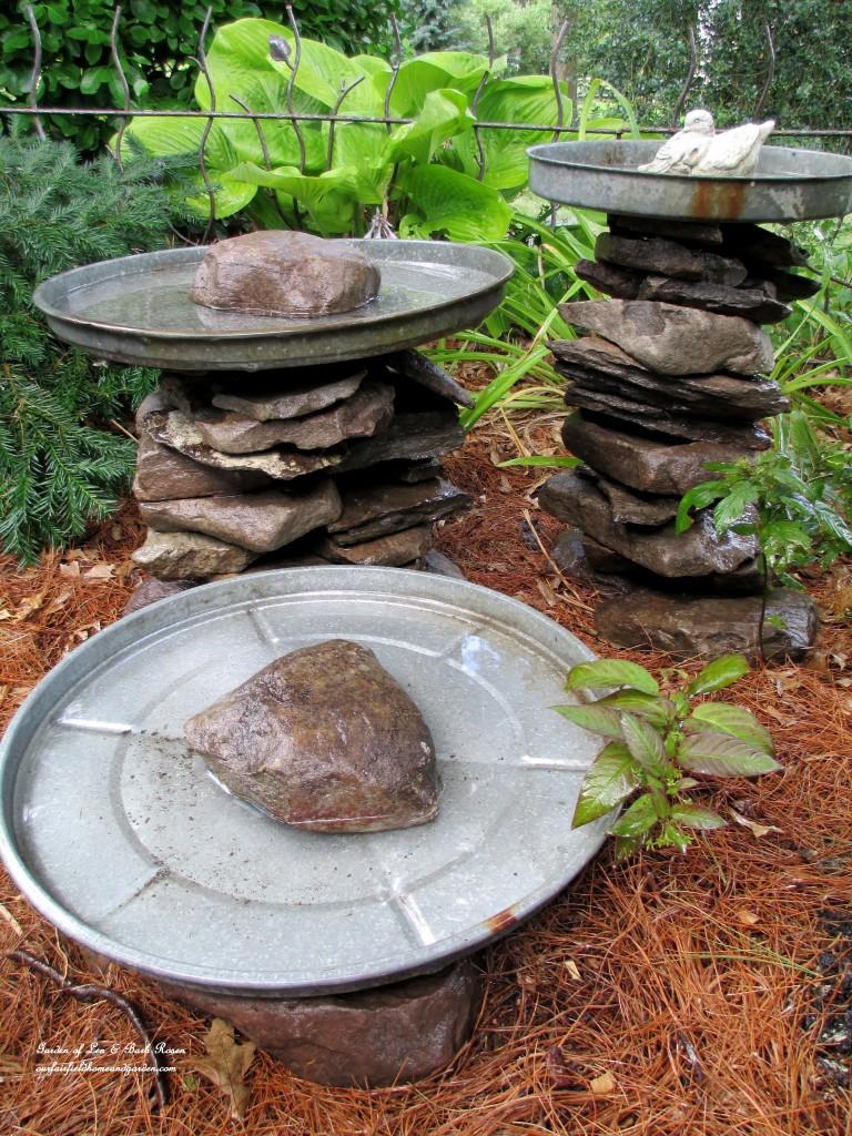 Deformed stones bird bath