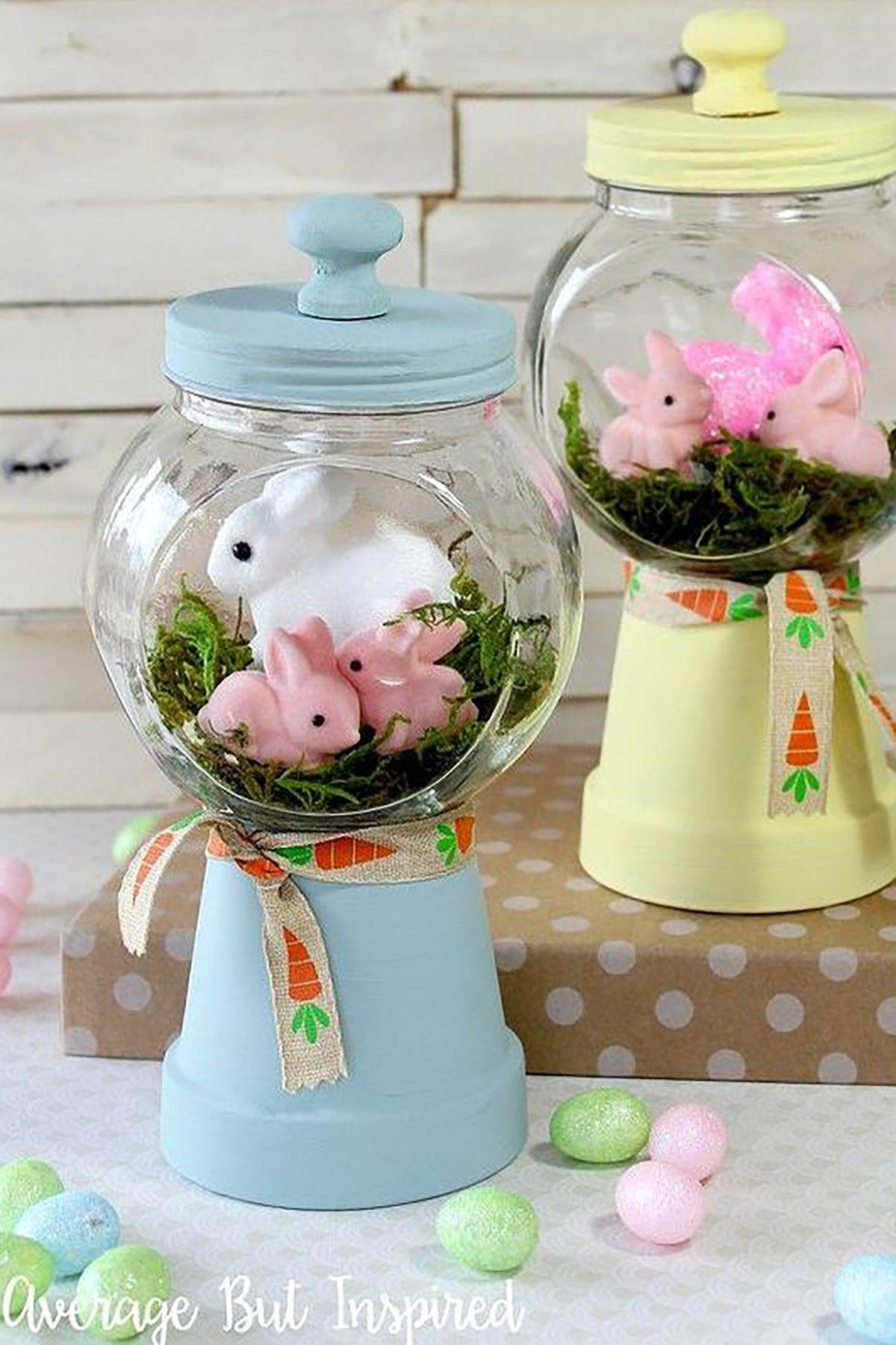 spring bunnies diy gumball machine craft crafts easter decorations seasonal holiday decor 1