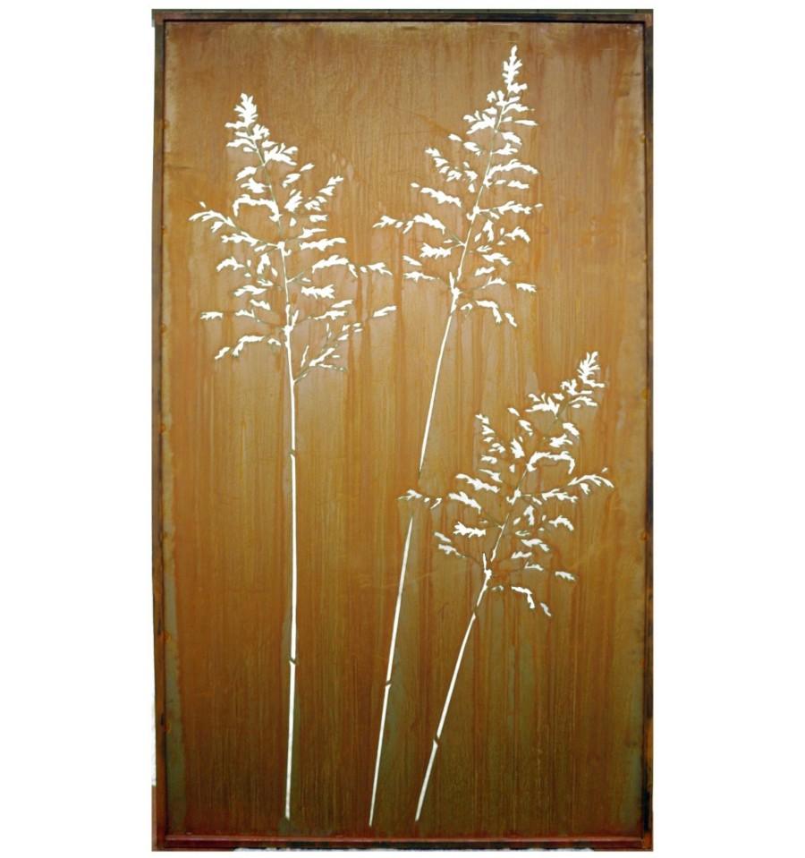 edelrost sichtschutz gras paravent 100 x 200 cm