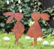 Edelrost Skulpturen Garten Inspirierend 2er Set Gartenstecker Hasenpaar Mädchen Und Junge Rost