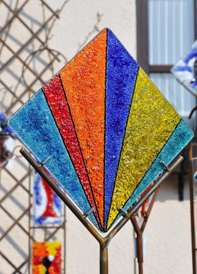 Exklusive Gartendeko Einzigartig Glassfusing Stele Cross Line Exklusive Gardendeko