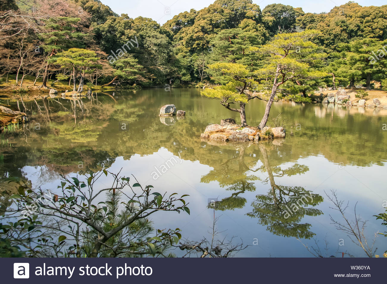 japanese feng shui garden with lake and bonsai trees which radiates a lot of silence W360YA
