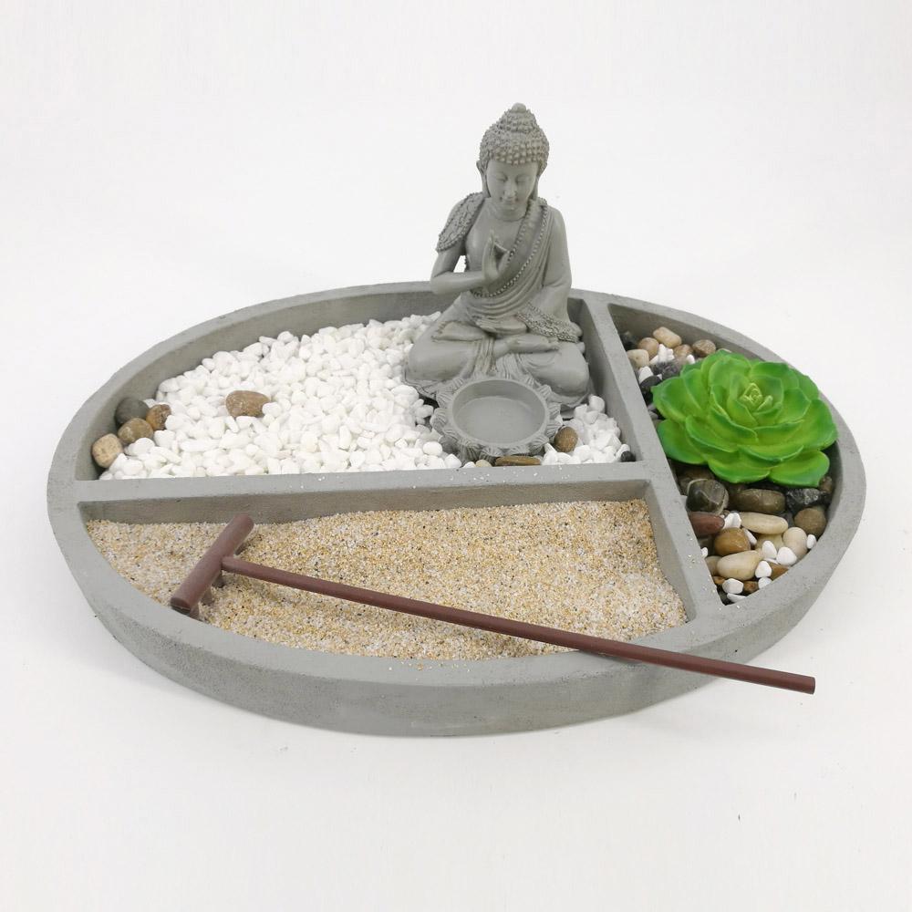 Zen Garden Sand Buddha Rocks Tealight Holder