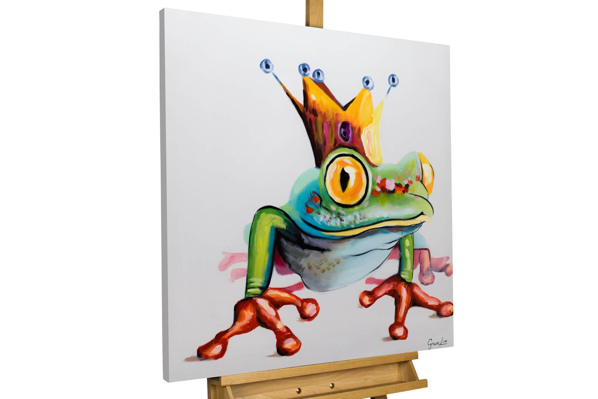 kl frosch tier froschkoenig krone modern acryl gemaelde oel bild 02