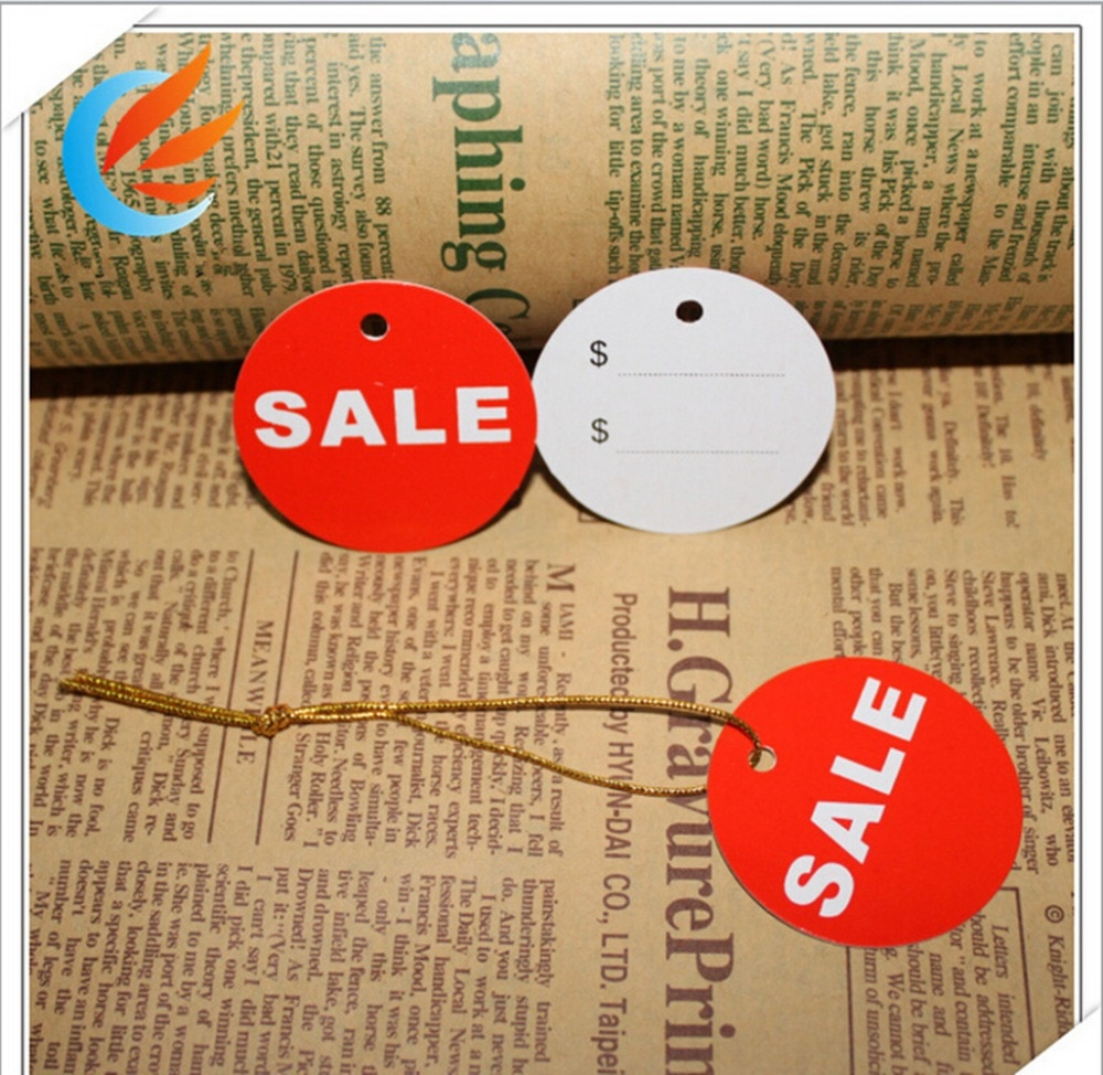 Free shipping 100pcs Sales Price Paper Tags 45mm Promotion hang tag clothing price labels 20M string