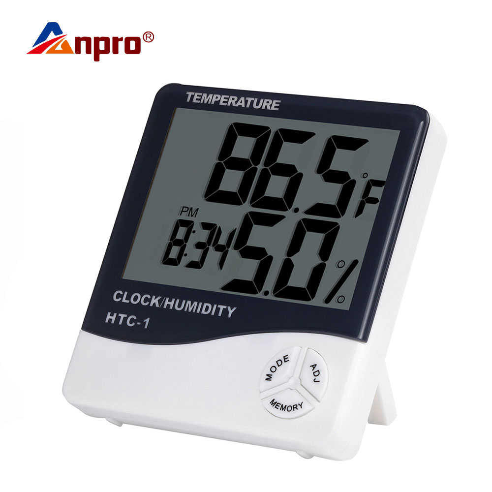 Digital LCD Electronic Ambient Thermometer Humidity Meter Hygrometer Weather Station Aquarium Bathroom Indoor With Alarm Clock