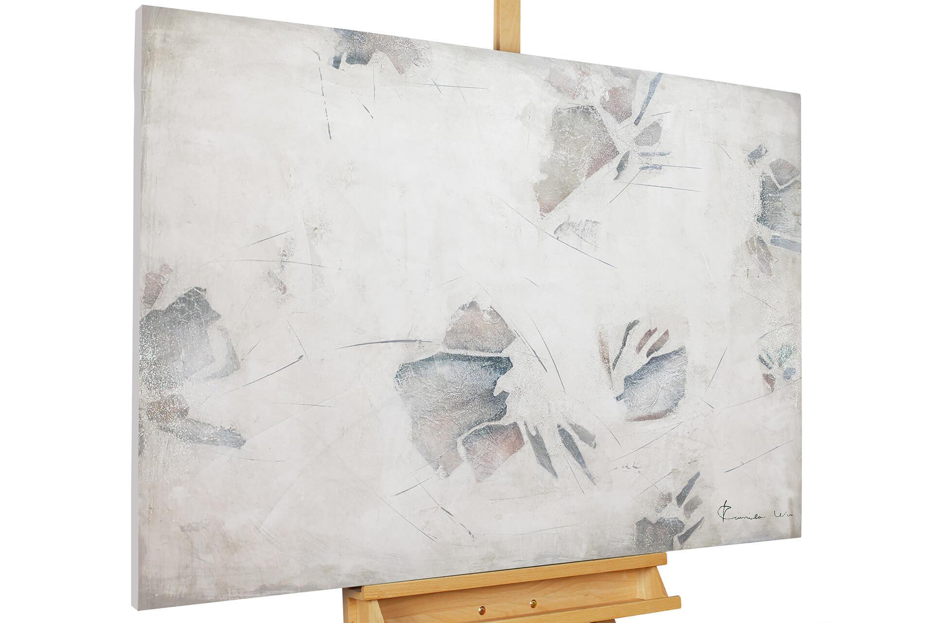 KL abstrakt spuren grau beige acryl gemaelde acryl bilder leinwandbilder moderne kunst 01