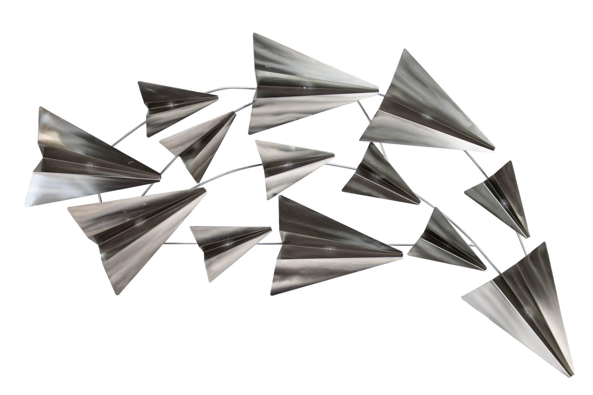 KL papierflugzeuge silber wanddeko metall wandskulptur wandbilder aus metall 01