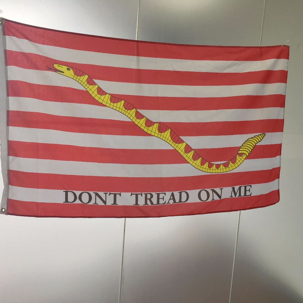 High Quality 3x5 Feet Gadsden DONT TREAD ON ME First Navy Jack Flag snake Activity parade