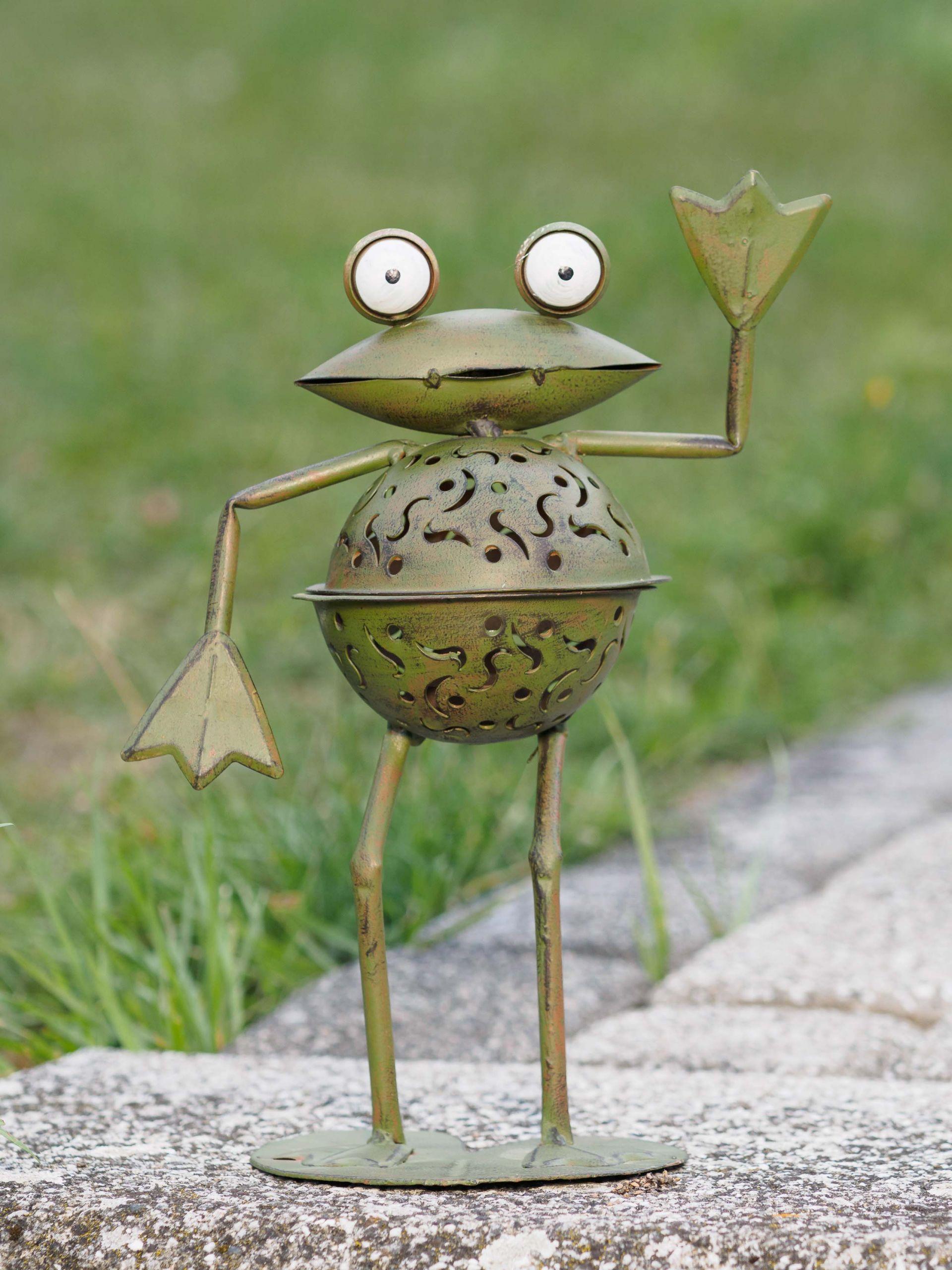 Garten Windlicht Luxus Wind Light Frog 31cm Garden Tealight Holder