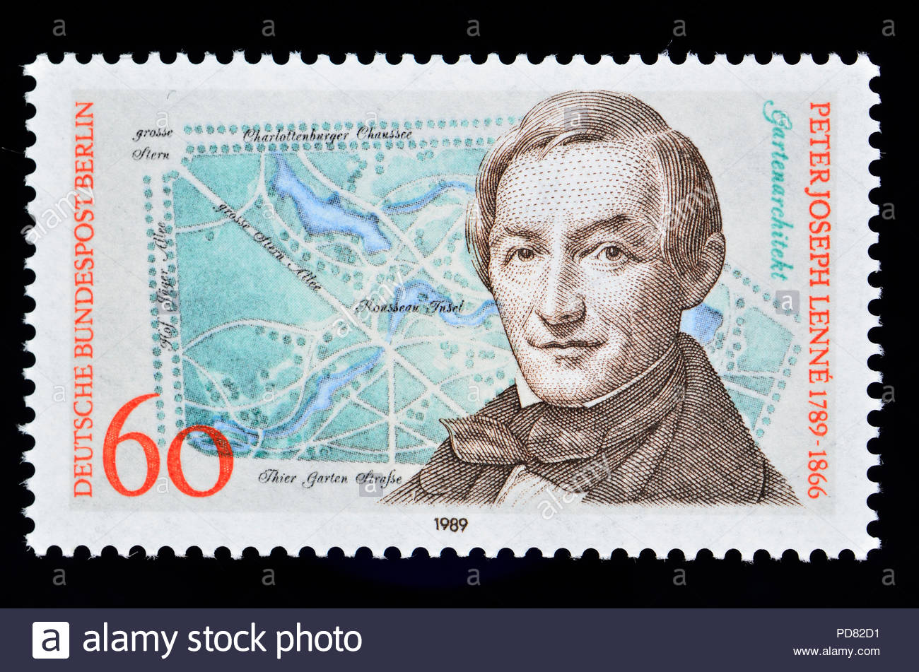 german postage stamp berlin 1989 peter joseph lenn the younger 1789 1866 prussian gardener and landscape architect PD82D1