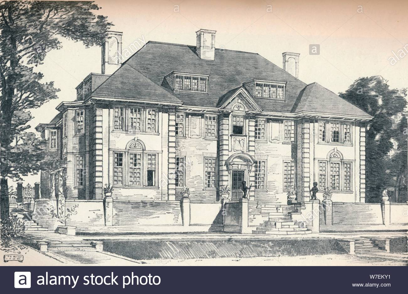 design for a house at hampstead by c h b quennell c1913 artist unknown W7EKY1