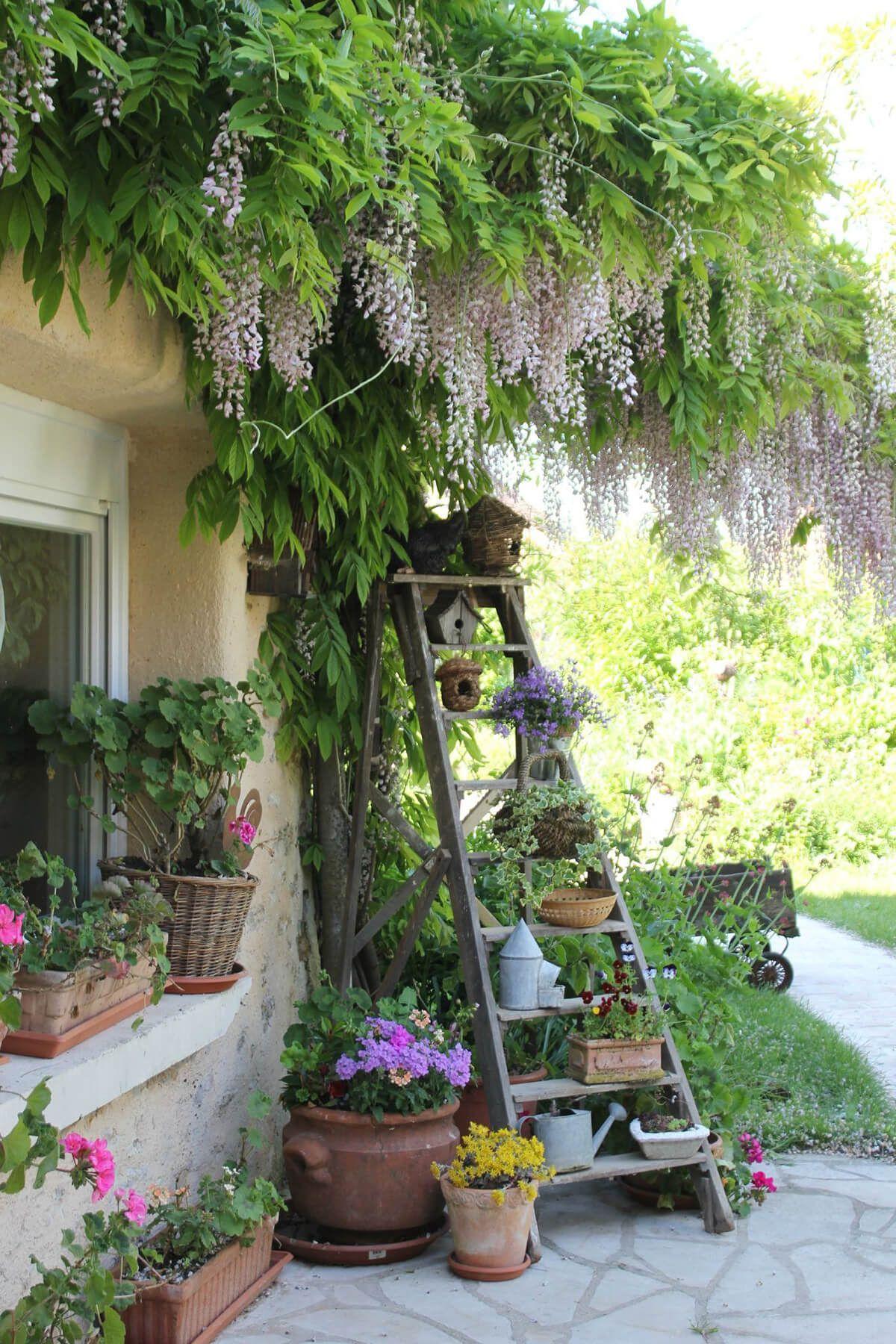 Gartendeko Aus Alten Sachen Genial Ladder Plant Stand with Birdhouses