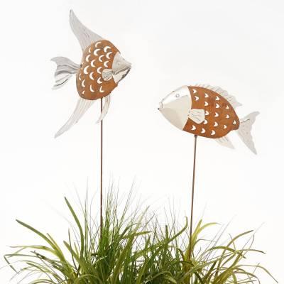 MODERNE HAUSFRAU R Gartenstecker Set 2 tlg Fische Tobago und Trinidad Rost