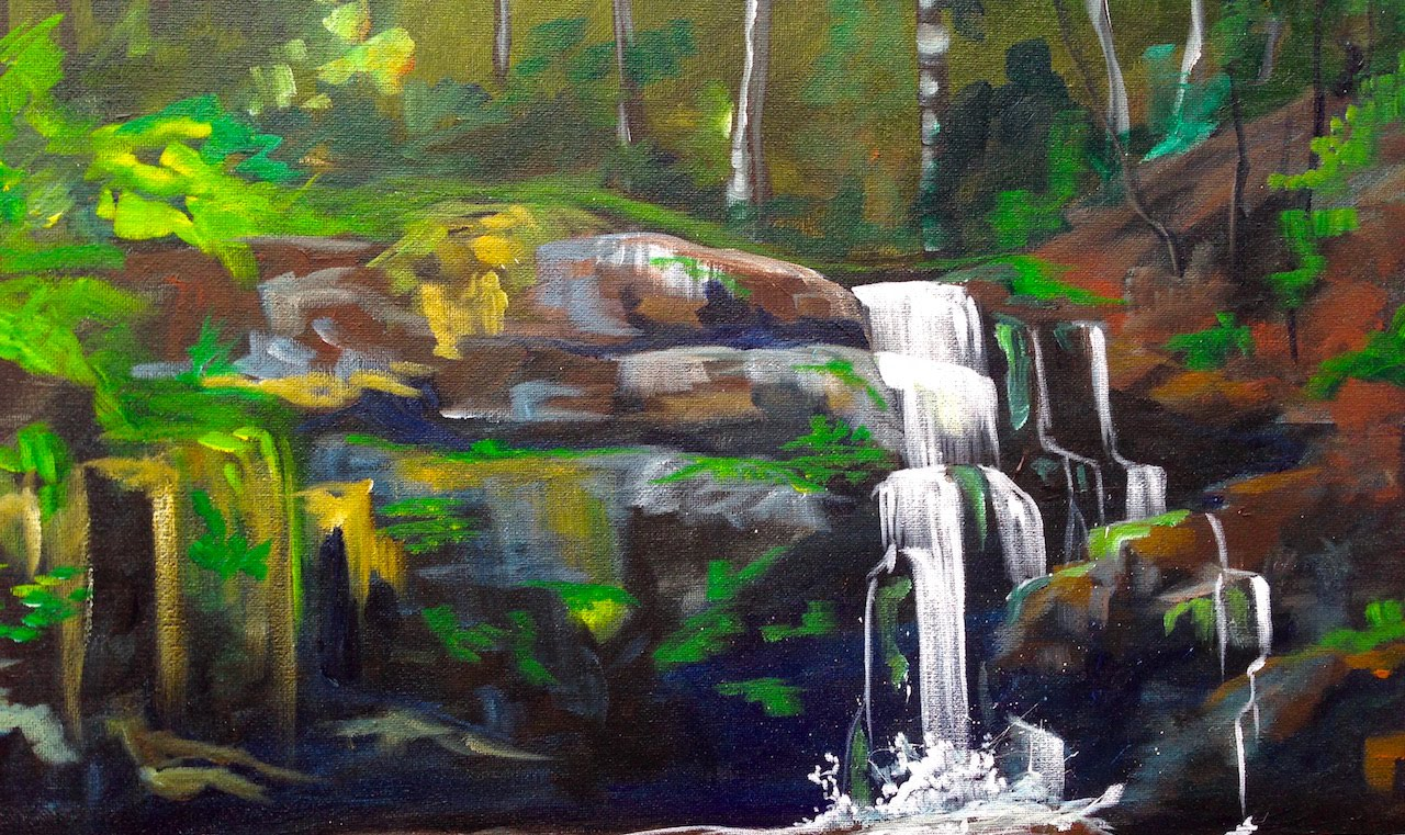waterfall landscape painting 5