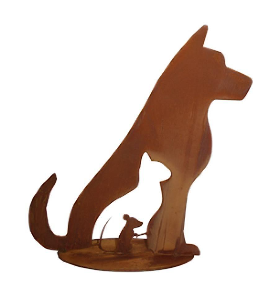 edelrost hund katze maus auf bodenplatte hohe 40 cm