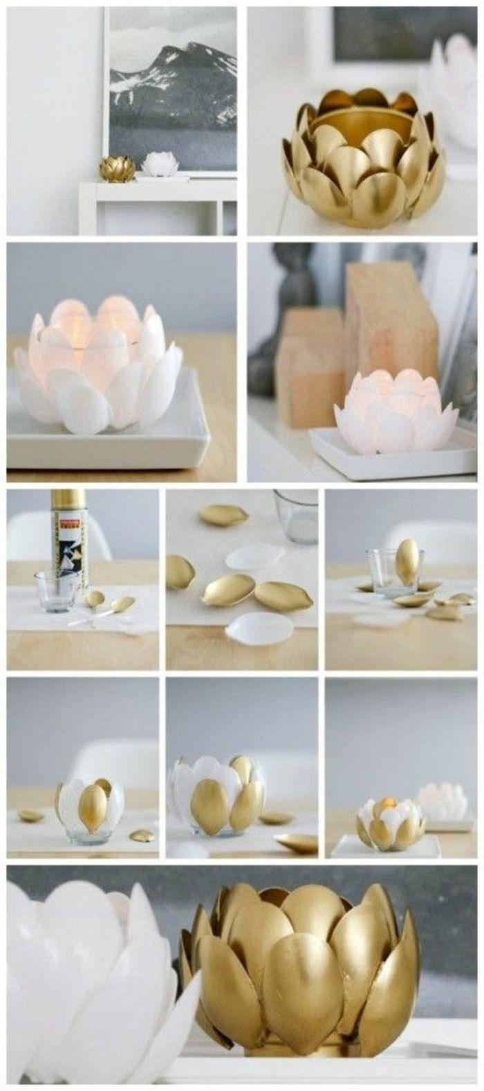 basteln fr C3 BChling plastikl C3 B6ffel kerzenhalter selber machen tischdeko bild weißer tisch
