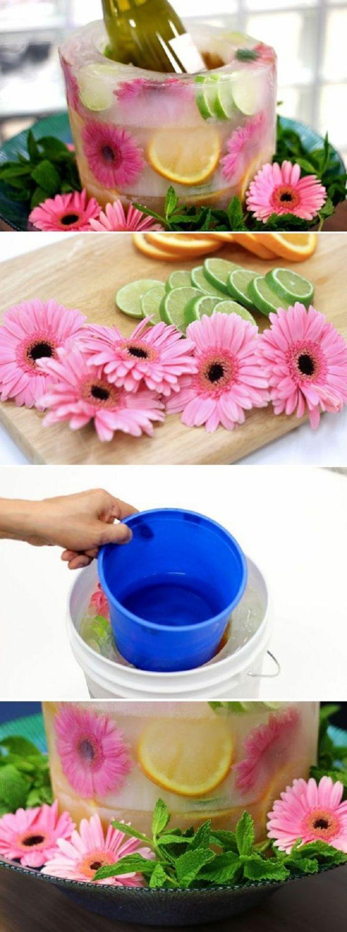 bastelideen fr C3 BChling rosa blumen eimer wasser limette limettenschale zitronenschale