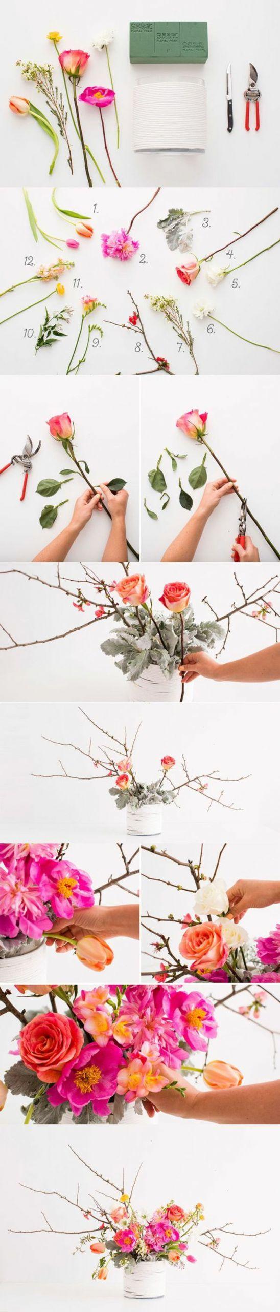bastelideen fr C3 BChling rosen blumen zange schwamm vase zweige fr C3 BChlingsdekoration