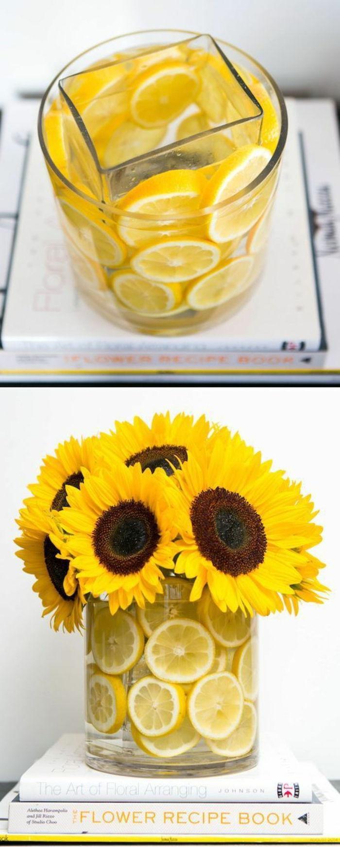 bastelideen fr C3 BChling sonnenblumen vasen zitronen zitronenschale b C3 BCcher