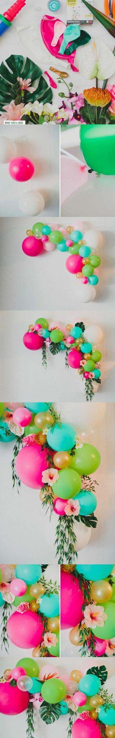 bastelideen fr C3 BChling balons pflanzen blumen gorße bl C3 A4tter wanddeko party