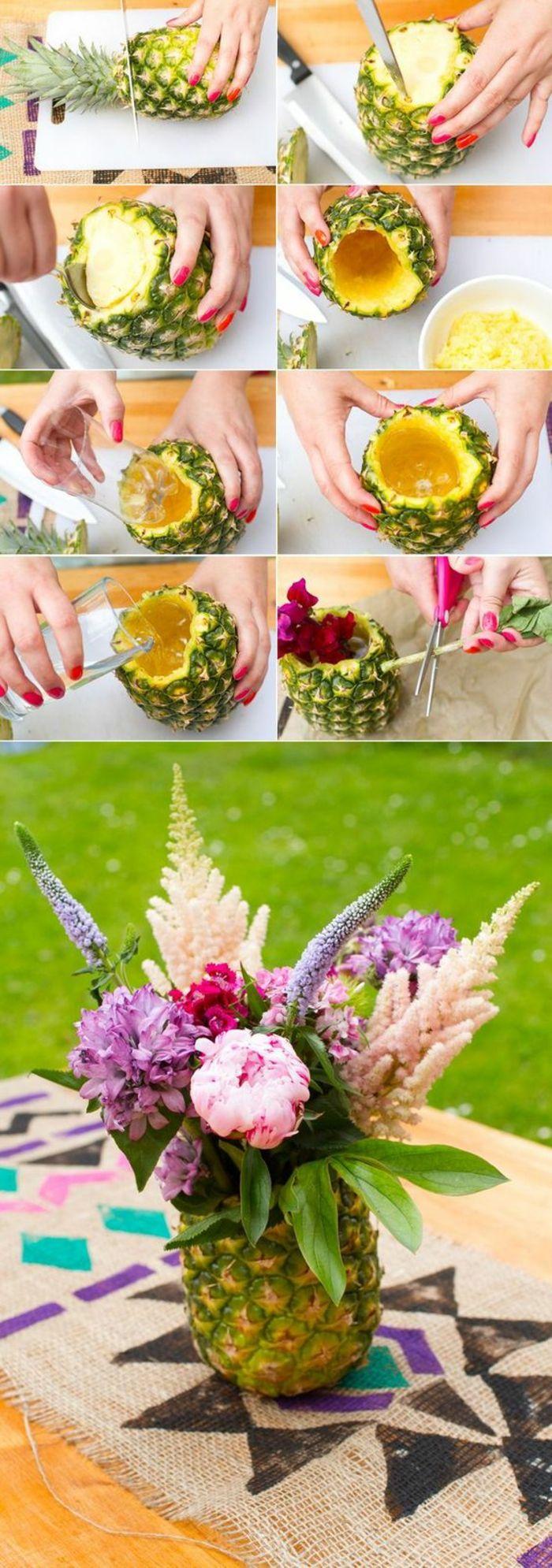 bastelideen fr C3 BChling ananas blumen tisch tischdeko selber machen schere plastikflasche vase