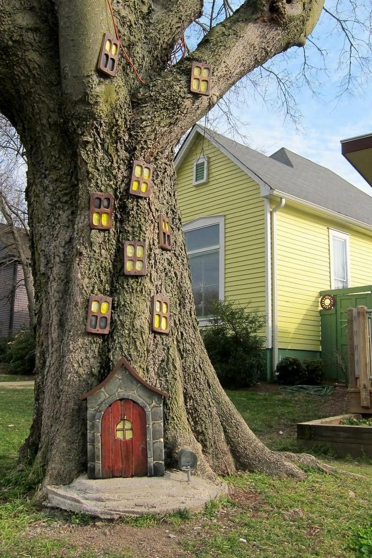 deko gartenideen gartenbaum dekorieren fenster tueren feen