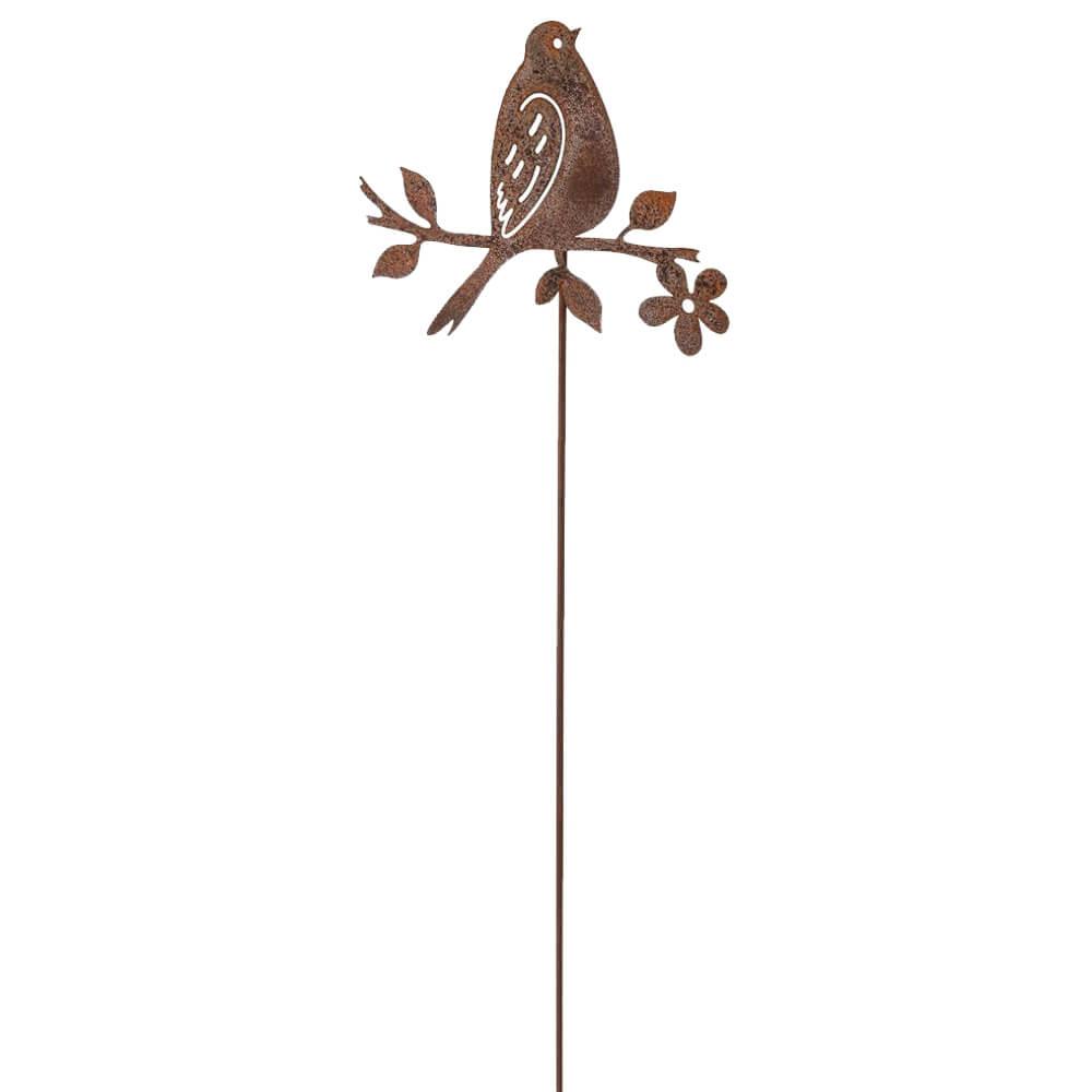 Blumenstecker Vogel auf Zweig Metallstecker Rostoptik Gartendeko 19x15 65 cm