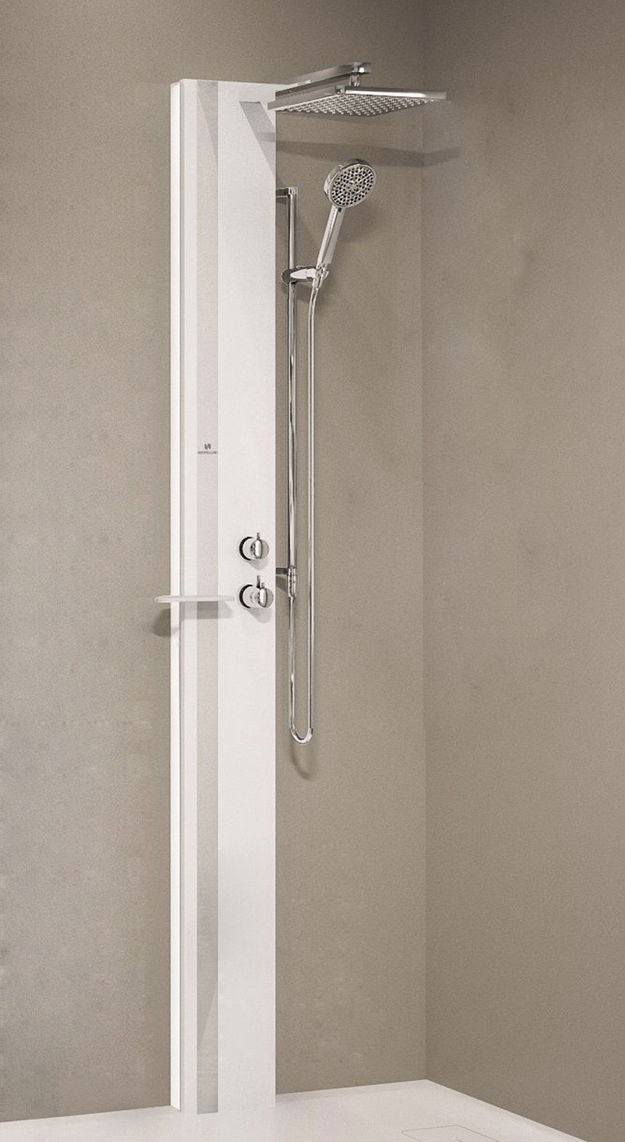 colonna novellini line 1 bianco opaco fascia e mensola silver senza sedile 1650 1 2