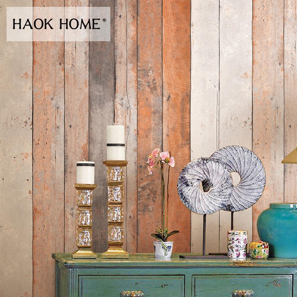 HaokHome Vintage Holz 3d Tapete Rollen Holz Plank Panel Kontaktieren Papier Wohnzimmer Home K che Badezimmer