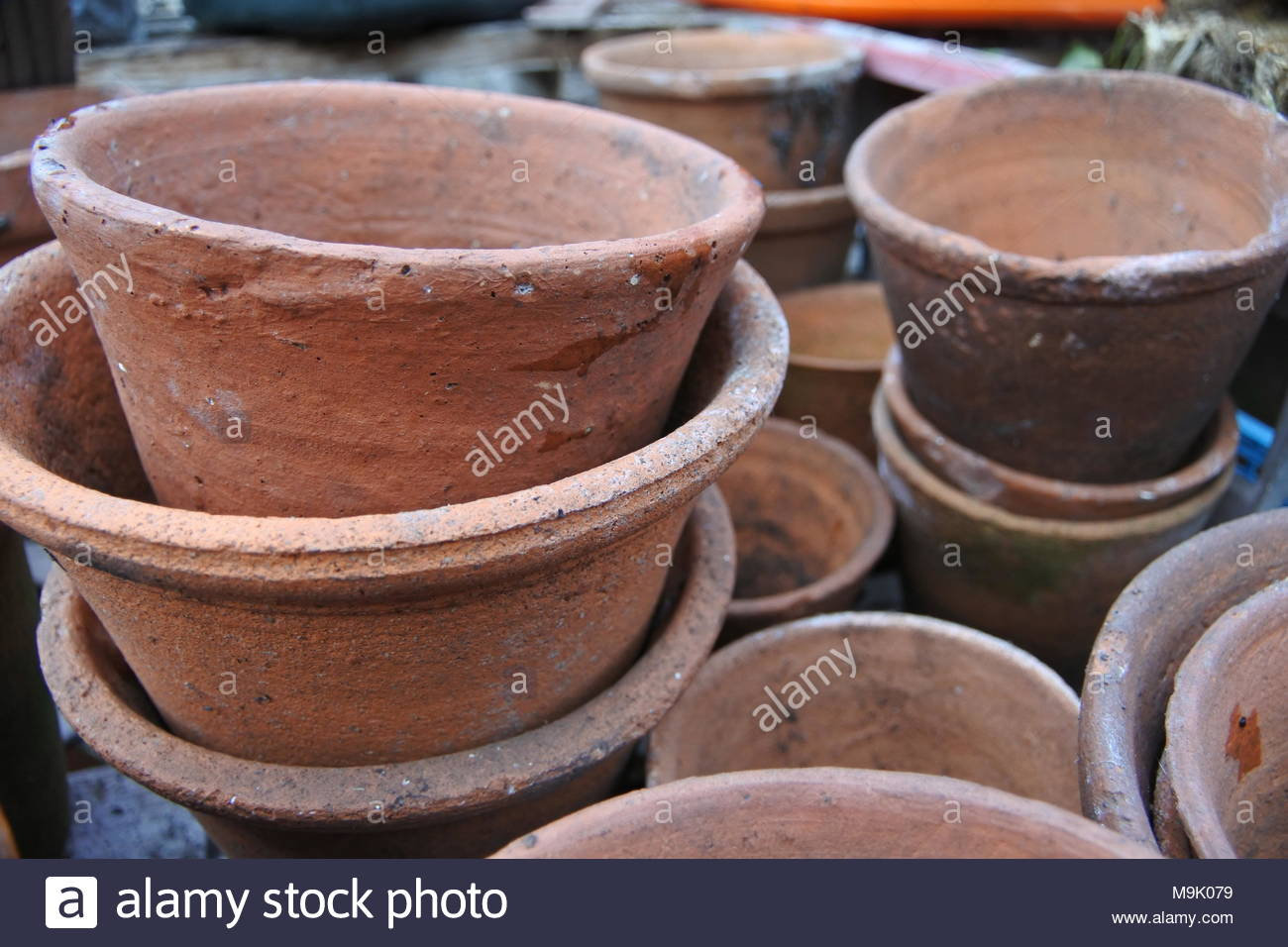 victorian terracotta flower pots stacked M9K079