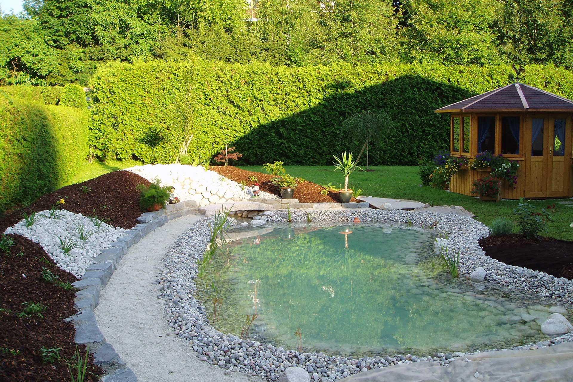 Garten gestalten Biotop Naturstein Kies Karl Sailer