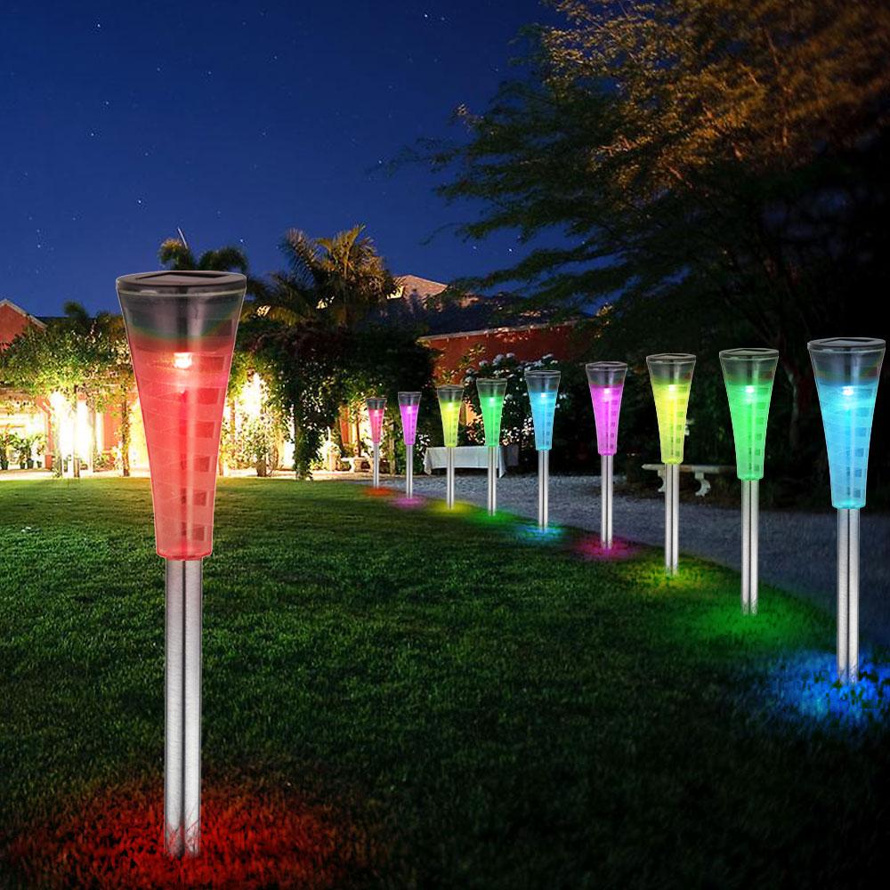 7er set rgb led solar steck lampen edelstahl kugel garten weg beleuchtung erdspie farbwechsel leuchten