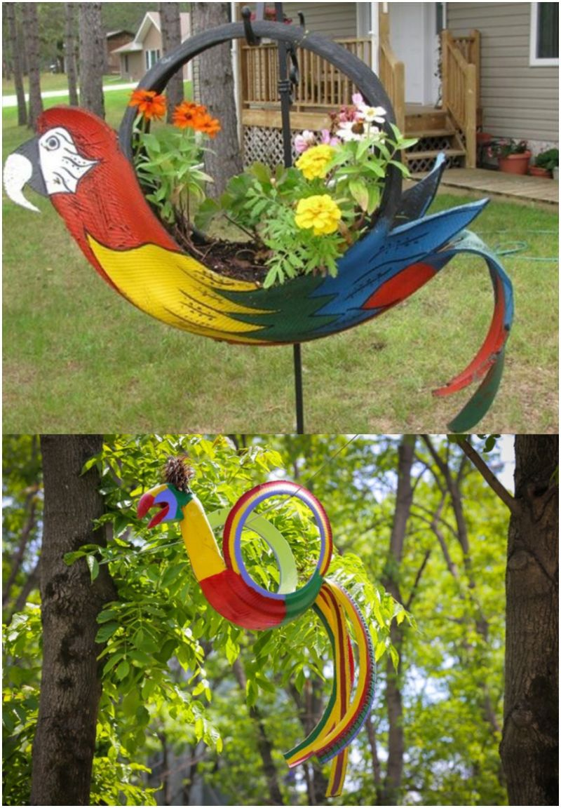 DIY Tire Parrot Garden Planter 1