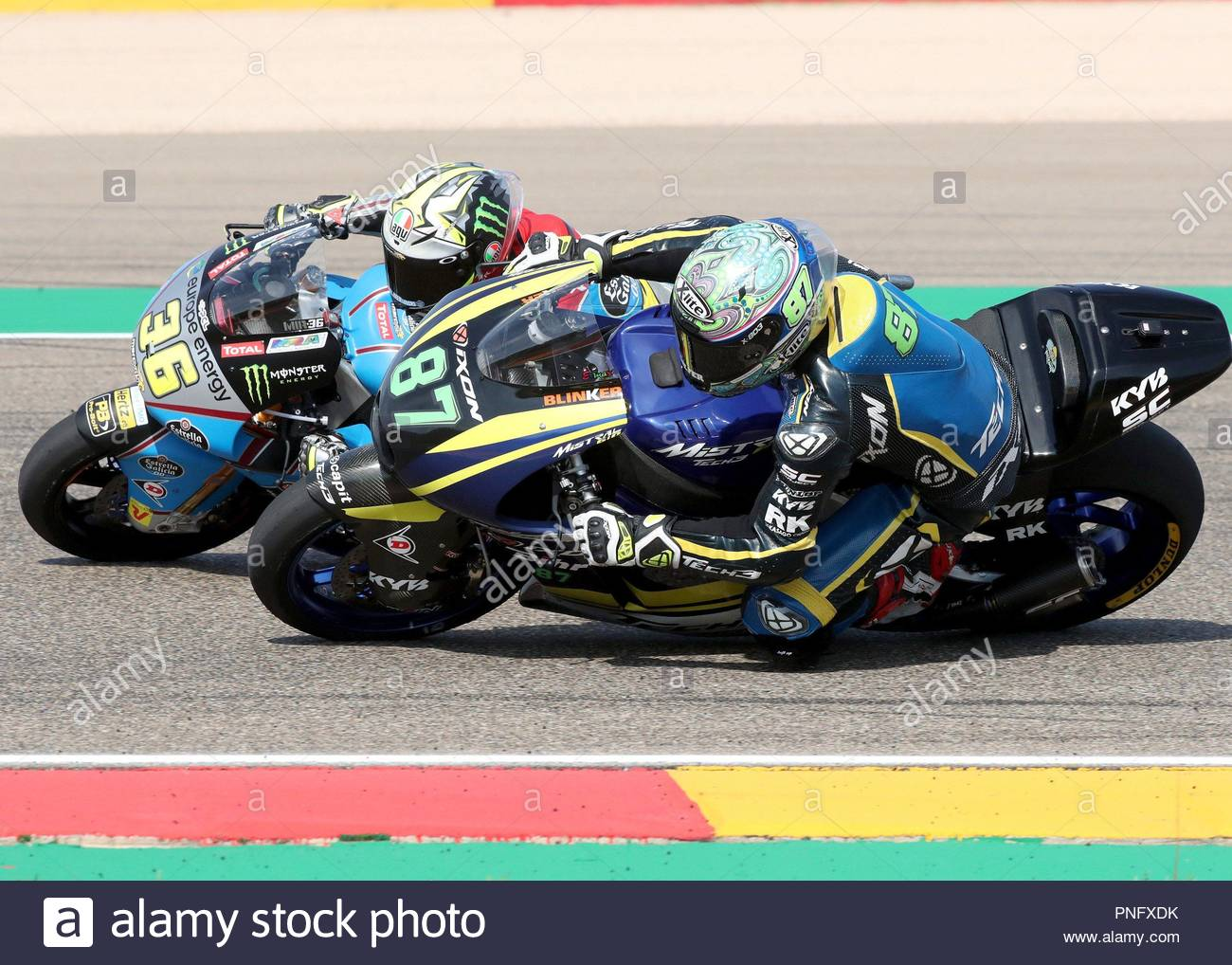 alcaniz spain 21st september 2018 spanish moto2 rider joan mir of eg 0 0 l and austrian remy gardner od tech3 racing take part in the free training session at motorland argaon circuit in alcaniz spain 21 september 2018 the motorcycling grand prix of aragon will take place on 23 september 2018 efe javier cebollada credit efe news agencyalamy live news PNFXDK