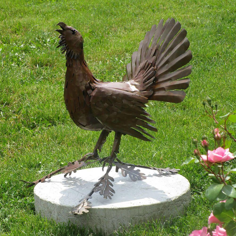 garten vogelskulptur auerhahn aus metall rost urogallus