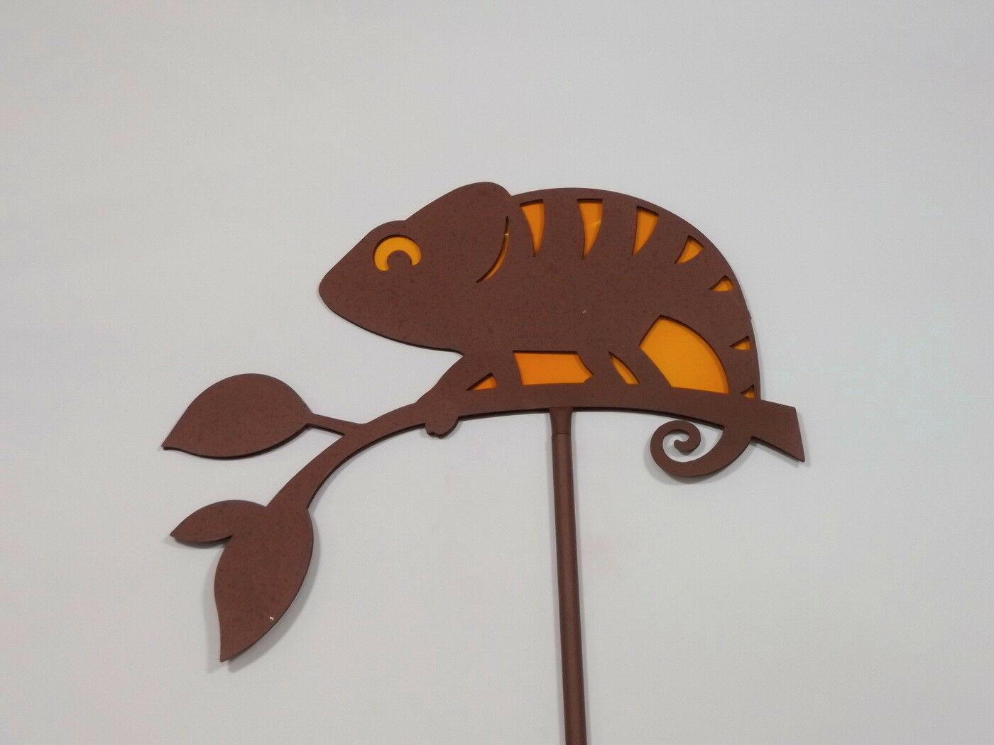 garten stecker metall camleon edelrost stab deko figur gecko lurch rankhilfe