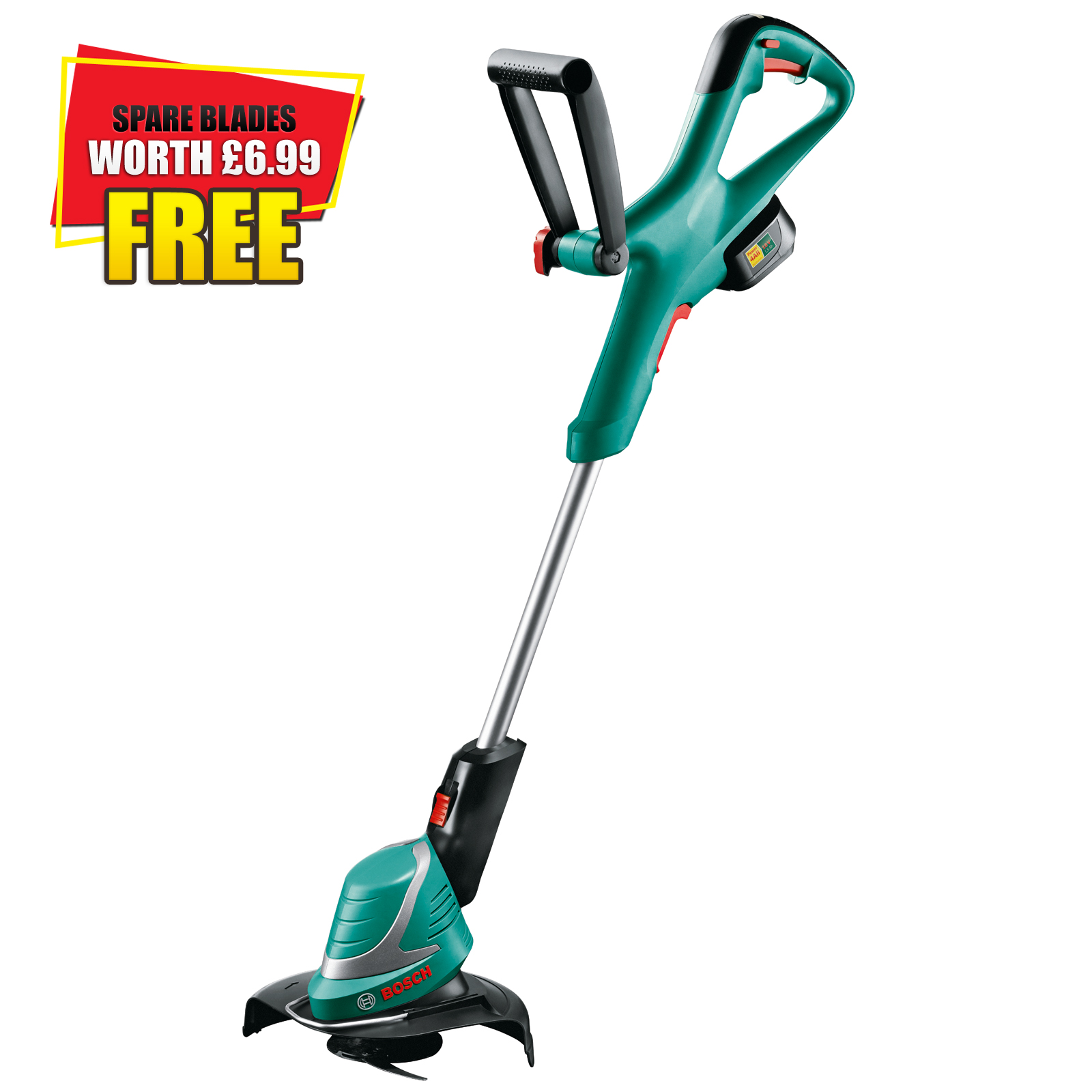 bosch power4all art 26 18 li 18v cordless grass trimmer 260mm cut width with 1 lithium ion battery 1 5ah with pack of extra blades worth 6 99 bosch