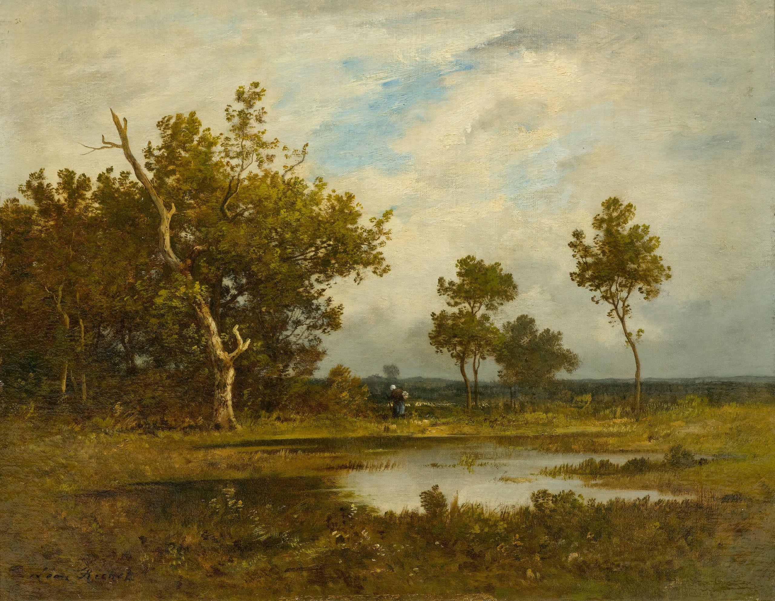 Léon Richet Reisigsammlerin bei einem Teich