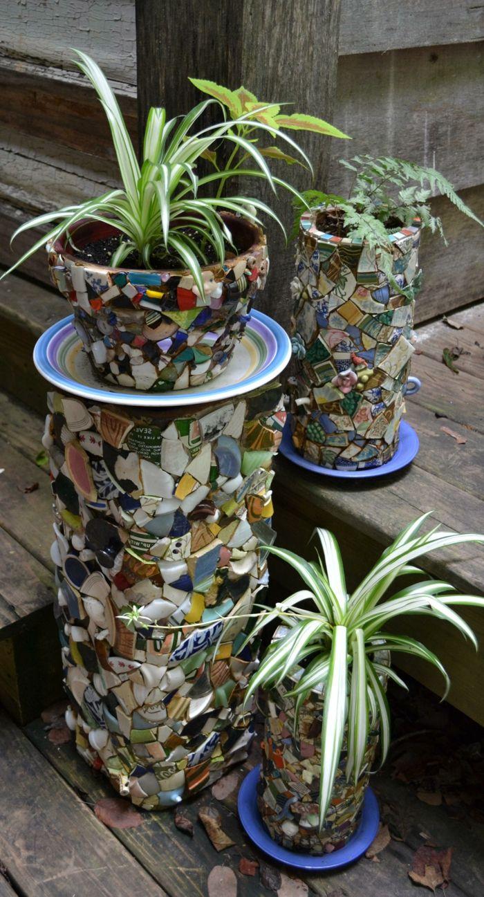 gartenideen pflanzengef C3 A4ße mosaik garten pflanzen