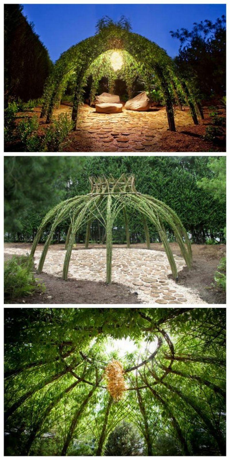 kreative Gaertenideen Gartenarbeit Gartenlaube Kletterpflanzen