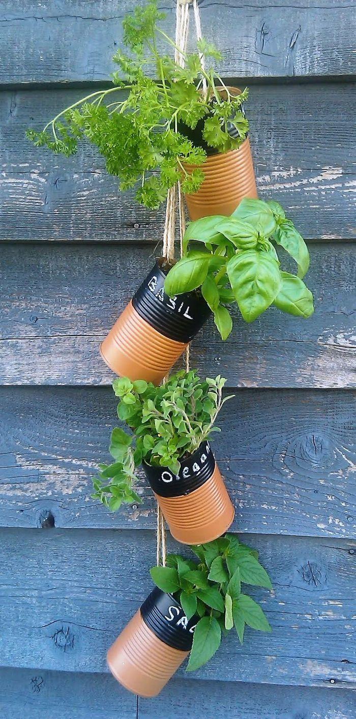 gartenideen garten pflanzen alte dosen wiederverwenden 1