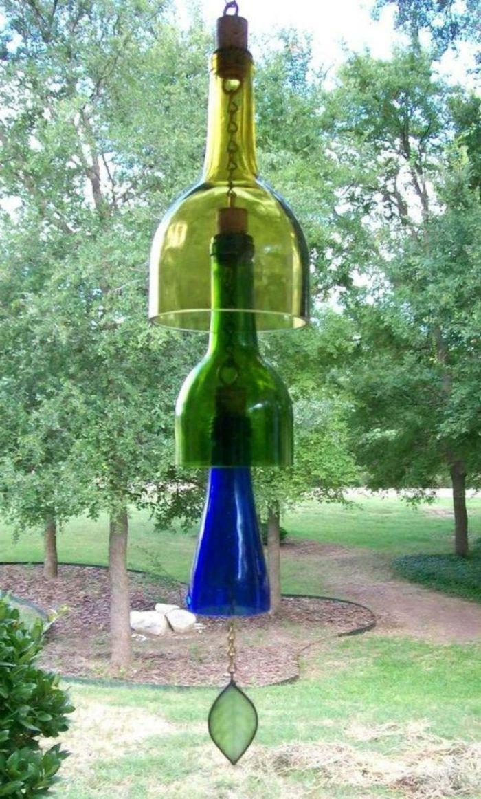 deko ideen selbermachen gartendekoration alten flaschen wiederverwenden