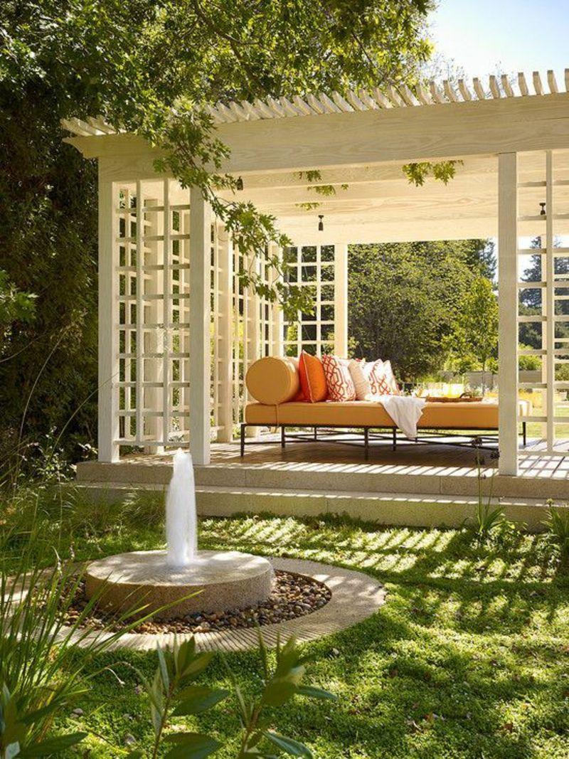 kreative Gaertenideen Gartenarbeit Wasserquelle Garten Pergola