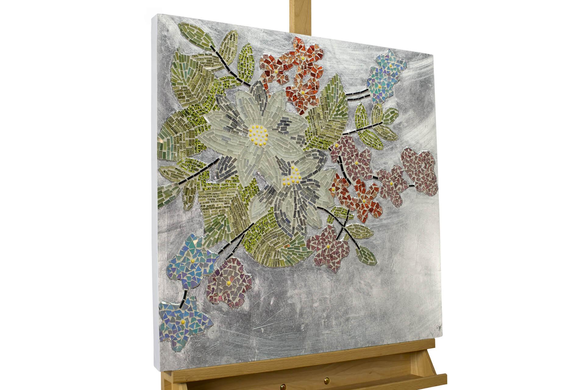 kl natur baum zweige rot modern glas mosaik wandbild 02