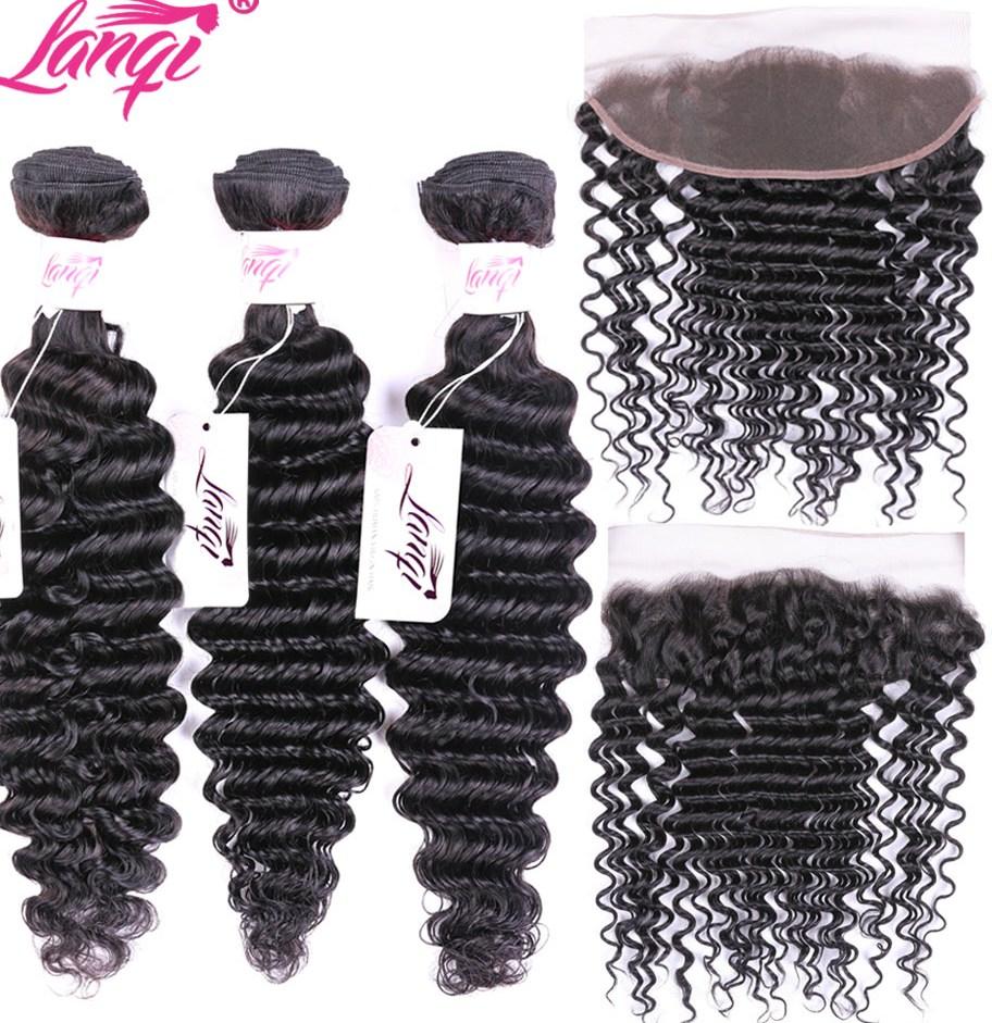 Deep Wave Bundles With Frontal Closure Lanqi 100 Human font b Hair b font Brazilian font